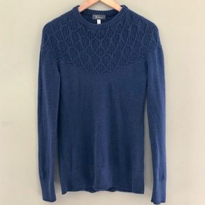 iBex 100% Merino Wool Like New Blue Trim Sweater